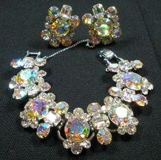 Vintage Juliana D Rhinestone Bracelet and Earring Set