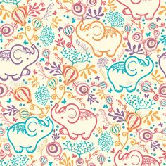 Elephant Pattern Background | Elephants With Flowers Seamless Pattern Background — Stock Vector ...
