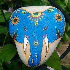 Elephant stone, resting in the garden. Hope you enjoy! #elephant #elephantstone #blueelephant #elephantart
