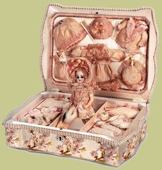 """French Bisque Doll —   6''Doll with Trousseau  in  Silk Presentation Box  12"""" x 8"""",  1890   (700x737)"""