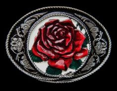 NEW RED ROSE LOVE VINTAGE DESIGN ENAMEL METAL BELT BUCKLE #redrose #rose #bloomingrose #flower #flowerbuckle #beltbuckle