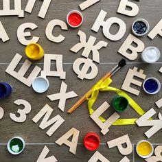 """В наборе """"Веселый алфавит"""" есть все для творчества - фанерные буквы, краски кисточки! Изучение букв превращается в веселую игру! Разукрась буквы! Сложи из них слова! Используй буквы как трафарет и разукрась то, что получилось! Твори, изучай, играй! Идеально подходит в качестве подарка для детей от 3 лет до 7 лет. Стоимость набора с одним комплектом букв (33 шт.) 1050 руб. Стоимость набора с двумя комплектами букв (66 шт.) 1650 руб. Доставка по всей России! ✈️  #gifts #gift #matr..."""