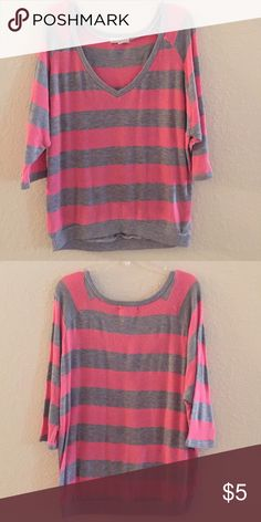 One clothing shirt Pink with gray shirt. Great for the winter and spring. Tops Blouses