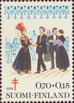 1976 Finland - Wedding dance accompanied by violins You've Got Mail, Love Stamps, Red Cross, Stamp Collecting, 17th Century, Postage Stamps, Folk, Europe, Helsinki