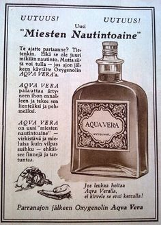 Aqua Vera - 1928 Retro Ads, Retro Vintage, Map Pictures, Old Commercials, Good Old Times, Old Ads, Finland, Flask, Vodka Bottle
