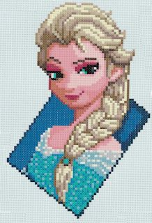 PDF Cross Stitch pattern - The Snow Queen (Frozen) - by PDFcrossstitch I this is a cross stitch design but it would be cool if you could do this with perler beads. Disney Stitch, Cross Stitching, Cross Stitch Embroidery, Cross Stitch Designs, Cross Stitch Patterns, Pixel Art, Frozen Cross Stitch, Beading Patterns, Embroidery Patterns
