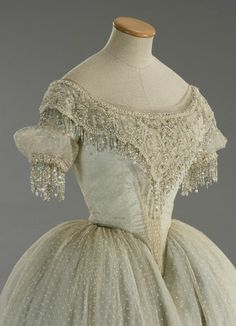 I love the beading on this 1860's ballgown!