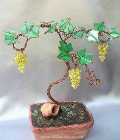 Wire grape bonsai with nail polish leaves by semeistvoadams.blogspot.com