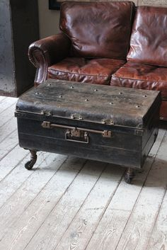 Vintage Trunk With Casters... gives me ideas for the 100 year old trunk I found curbside