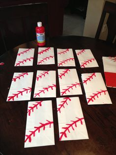 Baseball party favors bags,white paper bags and red paint (piñata bags) cheap quick easy red sharpie birthday sports Baseball Party Favors, Baseball Treats, Softball Party, Baseball Birthday Party, Sports Birthday, Sports Party, 2nd Birthday Parties, Boy Birthday, Birthday Ideas