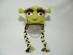 Shrek Hat Soft Yarn Fuzzy Eyebrow by ElenasBabyCorner on Etsy, $24.00