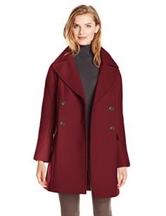 Vince Camuto Women's Double Breasted Wool Coat, Oxblood - http://www.womansindex.com/vince-camuto-womens-double-breasted-wool-coat-oxblood/