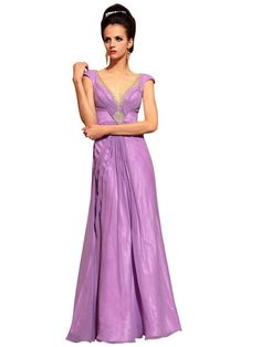 Amaya in Purple Evening Dress with Embellishments (30773)  £175.00 Sexy purple floor length dress featuring in chiffon A line silhouette,sleeved, high waist line with jeweled embellishments on front pleated bodice and back V neckline. This simply elegant purple evening dress is perfect for your next special event.