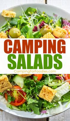 Whether you want a side dish or main dish, these camping salad recipes are a great addition to your outdoor meal plans. Get more camping tips and RV hacks from CampingForFoodies. #camping #camp #RV #tips #hacks #CampingForFoodies #recipes #meals #food #cooking #simple #easy #fun #fast Camping Salads, Camping Food Make Ahead, Camping Lunches, Make Ahead Salads, Best Camping Meals, Salads For A Crowd, Camping Menu, Camping Recipes, Camping Tips