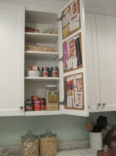 Cork board inside your cabinets tutorial.  AND 45 of the BEST Home Organizational & Household Tips, Tricks & Tutorials with their links!! Party and event prep, too! from MrsPollyRogers.com