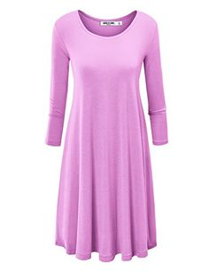 LL Womens Round Neck 3/4 Sleeves Tunic Dress - Made in USA $9.95
