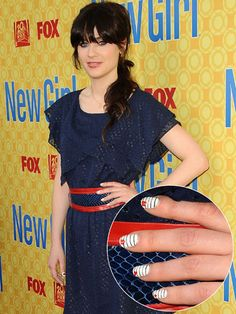 Famous Actress Zooey Deschanel From New Girl Fox Channel Tv Show with Striped Nails