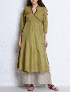 Buy Olive Textured & Cutdana Embellished Habutai Silk Angrakha Kurta Apparel Tunics Kurtas Oona Palazzos Chanderi Dupattas and Accessories Online at Jaypore.com