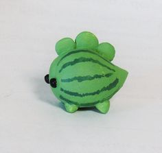 Kawaii Watermelon Dinosaur mini Figure Handmade clay ooak handpainted tiny custo