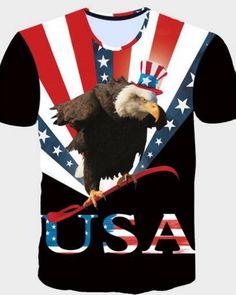7147a4d9db7 Funny Eagle Flag Print Mens T Shirt Summer Short Sleeve T-shirt Men Casual  Slim Fit Tee Shirt Homme Fashion Hip Hop Top Tees