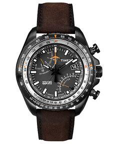 Timex Watch, Men's Premium Intelligent Quartz Fly-Back Chronograph Brown Leather Strap 46mm T2P102AB