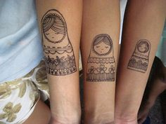 Matryoshka nesting dolls shared between three sisters - adorable without being too twee