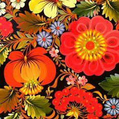 Folk art flower painting.