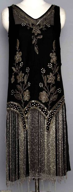 Augusta Auctions, backside, Beaded 1920's flapper dress. Black silk w/ crystal beads & long beaded fringe.
