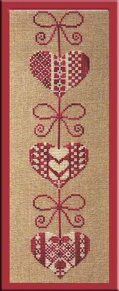 Garland of hearts pt Cross Stitch Numbers, Cross Stitch Heart, Beaded Cross Stitch, Embroidery Hearts, Cross Stitch Embroidery, Hand Embroidery, Cross Stitch Bookmarks, Cross Stitch Alphabet, Cross Stitch Designs