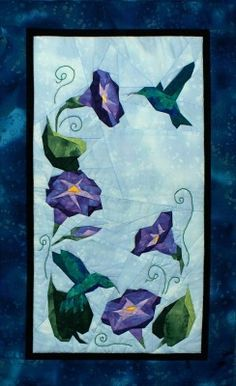 """PaperPiecedQuilting.com - Glorious Hummingbirds - NEW Form of Foundation Paper Piecing (Picture Piecing) Pattern - 17"""" x 26"""" Quilt Block, $9.50 (http://paperpiecedquilting.com/glorious-hummingbirds-new-form-of-foundation-paper-piecing-picture-piecing-pattern-17-x-26-quilt-block/)"""