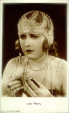 Lee Parry, Silent Era Film Actress with Headdress Glamour Art Deco Flapper Luxury Original 1920s Photo Postcard Collectable
