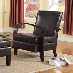 Wonda Brown Bonded Leather Accent Arm Chair with Ottoman - Free Shipping Today - Overstock.com - 17897689 - Mobile