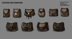 DAY Sidhe - Bag Variations by Cryptid-Creations Fantasy Rpg, Medieval Fantasy, Prop Design, Game Design, Character Inspiration, Character Art, Game Props, Game Item, Drawing Reference