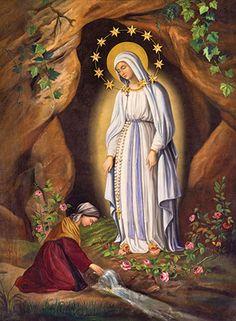 Our Lady of Lourdes appeared to this young, faithful saint. Novena Prayers, Catholic Prayers, Catholic Art, Religious Art, Roman Catholic, St Bernadette Of Lourdes, Santa Bernadette, La Salette, Religious Pictures