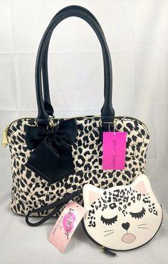 Betsey Johnson Set Reversible Quilted Heart Shoulder Bag Cat Wristlet Leopard #BetseyJohnson #ShoulderBag
