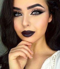 Chic Makeup Looks With Black Lipstick You Would Love To Try; Chic Makeup Looks; Black Makup Looks; Dark Angel Makeup, Black Lipstick Makeup, Goth Makeup, Blue Eye Makeup, Skin Makeup, Black Makeup For Blue Eyes, Dead Makeup, Dark Lipstick, Lipstick Colors