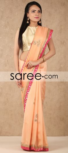 Pink Silk Saree with Lace