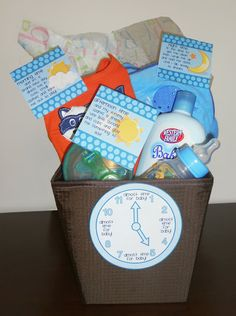 You'll need:        Basket      At least one clothing item (you can add more outfits if you like)      Little plastic dishes like a sippy cup or toddler spoons      Bath towel or blanket (you can also add baby shampoo or soap)    Arrange your items in the basket with some tissue paper and attach the following tags to the corresponding item.  Place the clock on the front of the basket.