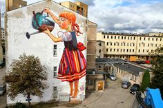 "Natalia Rak | ""The Legend of giants"" - Mural streetart Tina Meamar  May 19, 2016 NATALIA RAK PAINTS MANY FACES OF WOMEN AND WITH HER COLORFUL PAINTINGS CREATES A MOOD, MYSTERY AND METAPHOR.  Natalia is a Polish artist , born in 1986. Graduated of Fine Arts in Lodz, Poland. She is very passionate about painting for over 10 years. For the first three years she associated with Mural streetart and successfully participated in several group exhibitions in Poland, among other galleries."