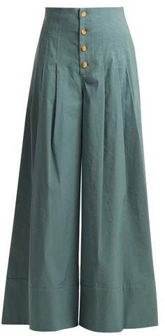 Sea Bernadette High Rise Wide Leg Trousers - Womens - Khaki Button trousers outfit ideas for women. Fashion Pants, Hijab Fashion, Fashion Dresses, Emo Fashion, Muslim Fashion, Lolita Fashion, Fashion Watches, Street Fashion, Sneakers Fashion