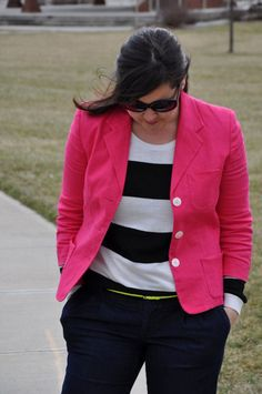 Hot pink blazer = yes please!