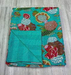 Indian Handmade Kantha Quilt Floral Vintage Quilt by eLcrafto, $45.99