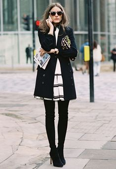 Olivia Palermo - love the simple and classy winter outfit. #christmas winter coat dress and over knee boots.