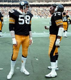 "Jack Lambert and Joe Greene, Pittsburgh Steelers,,,,,,,, ""Man when you try to rip a guys head off use both hands"""