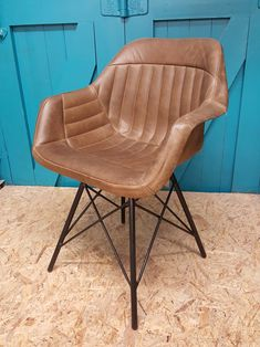 Aviator armchair dining chair from buffalo leather available from Benmore Studio furniture store Dublin Studio Furniture, Contemporary Dining Chairs, Office Table, Kitchen Chairs, Industrial Style, Armchair, Dining Table, Home And Garden, Dublin