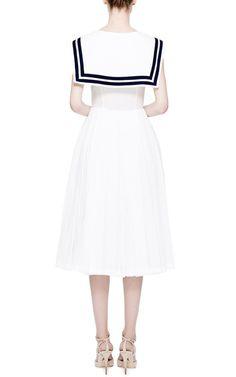 White Muslin Dress With Navy Collar by Natasha Zinko for Preorder on Moda Operandi