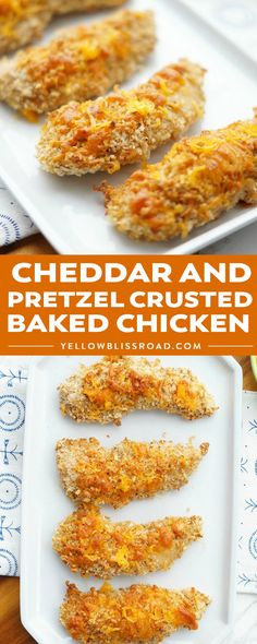 Cheddar and Pretzel Crusted Baked Chicken is a quick, weeknight chicken dinner recipe that your entire family will love! Kids love the pretzel taste and texture on this fun play on the classic chicken tender! #yellowblissroad