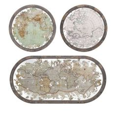 "Imax Home 65249-3 15.5"" x 31.25"" Mirrored Map Wall Decor - Set of 3"