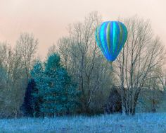 Hot Air Balloon Landing,Baloon Photography,Surreal photo Blue foliage on Etsy, $31.14 CAD
