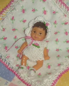 "OOAK Hand knit 2.5"" Romper Outfit Blanket for KRISSY Barbie baby Boy or Girl Polymer Clay Art Doll Silicone Polymer newborn COLOR Choice"